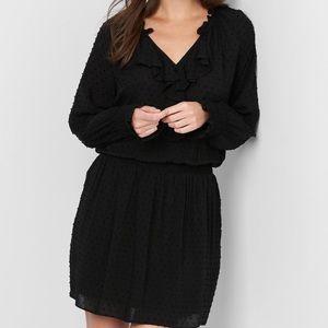 NWOT GAP Black Long Sleeve Swiss Dot Ruffle Dress